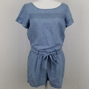 Loft Chambray Tie Front Romper Size 2